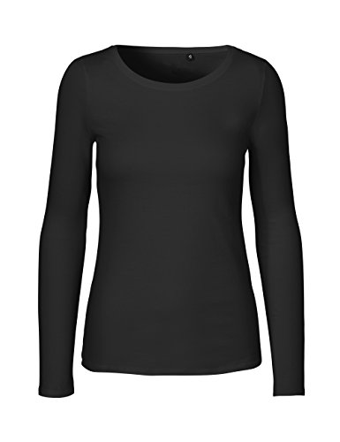 Green Cat- Damen Langarmshirt, 100% Bio-Baumwolle. Fairtrade, Oeko-Tex und Ecolabel Zertifiziert, Textilfarbe: schwarz, Gr.: M