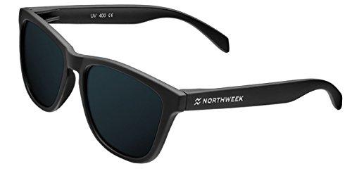 Neu 2017 - Northweek mattschwarze Sonnenbrille - schwarz - polarisierte Linse - UV400 - Unisex
