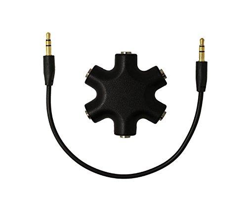 Annedenn 6-Way Stereo Audio Kopfhörer Hub Splitter Netzkabel und Mehrfachsteckleisten AUX-Kabel Splitter