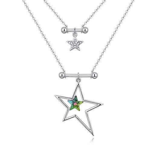WTDlove Halskette mit Kristall Element Sterne strahlende Mode Doppelte Halskette Schmuck