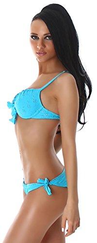P.F. Damen Träger-Bikini einfarbig mit Stickereiverzierung Türkis