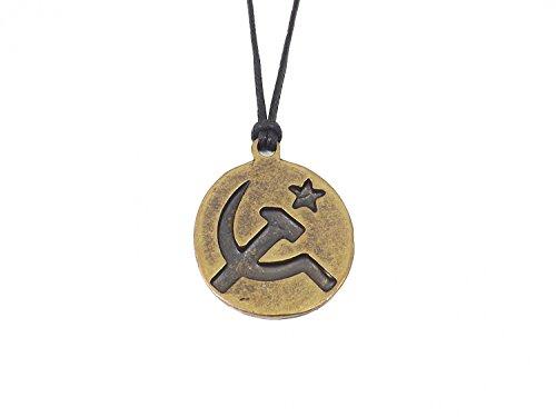 Halskette für Herren Unisex mit Münze Anhänger 'Hammer und Sichel' - UdSSR (die Union der Sozialistischen Sowjetrepubliken)