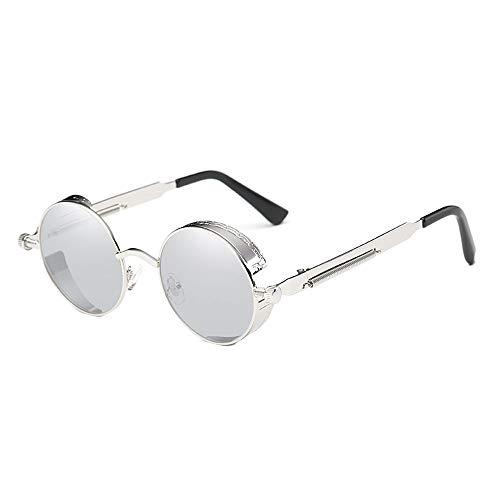 Lxc Klassische Steampunk-Sonnenbrille Europa Und Die USA Runde Reflektierende Brille Retro-Mode Unisex UV400 Schutz Silberrahmen Zeige Temperament (Farbe : Silver)