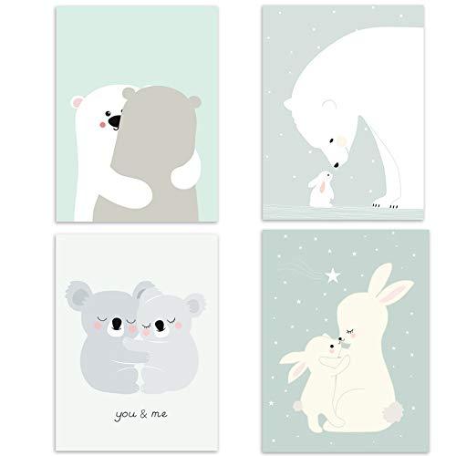 4er Set Kinderzimmer Babyzimmer Poster Bilder Din A4 | Mädchen Junge Deko | Dekoration Kinderzimmer | Waldtiere Safari Skandinavisch 4er-a