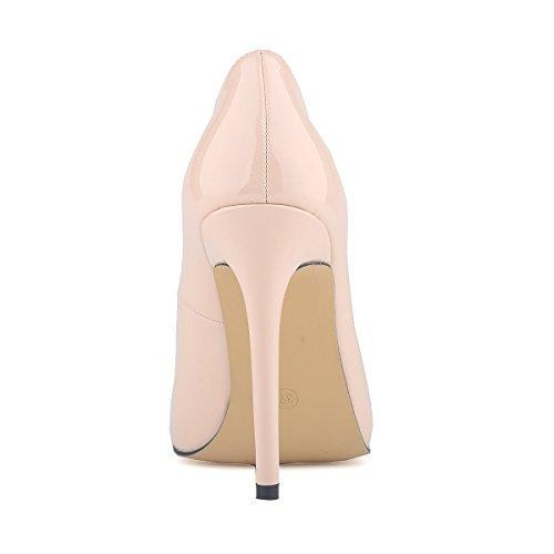 HooH Femmes Simple Bonbons Couleur Glissement Stiletto Escarpins Beige