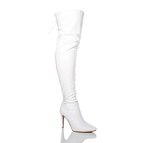 Femmes talon haut au-dessus du genou élastique bottes cuissardes pointure 3 36
