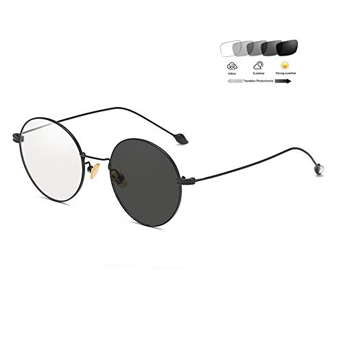 Eyetary Retro Runde Anti Blaulicht Brille mit Photochrome Sonnenbrille Frauen Nerd Computer Gaming Brille Blaulichtfilter Entspiegelt uv Schutz, Perle Verschönerung Brillengestell,BlackFrame