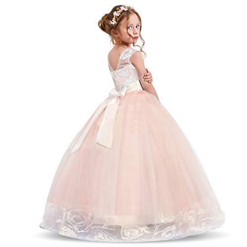 NNJXD Mädchen Spitze Applique Bestickt Hochzeit Brautjungfer Ballkleid Erstkommunion Geburtstagsparty Prinzessin Kleider Größe (140) 7-8 Jahre Rosa