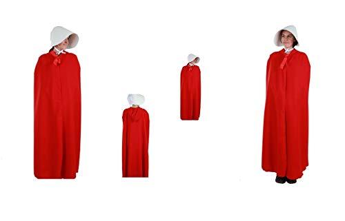 LBA Disfraz de El Cuento de la Criada. Disfraz compuesto de Capa con capucha y Sombrero. Talla única de adulto.