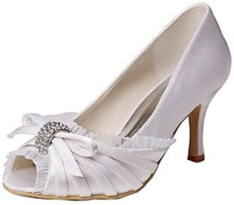 RTRY Las Mujeres'S Wedding Shoes Bomba Básica De Satén Stretch Verano Boda &Amp; Noche Bowknot Stiletto Talón...