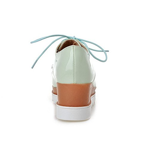 AllhqFashion Femme à Talon Correct Couleur Unie Carré Chaussures Légeres Vert