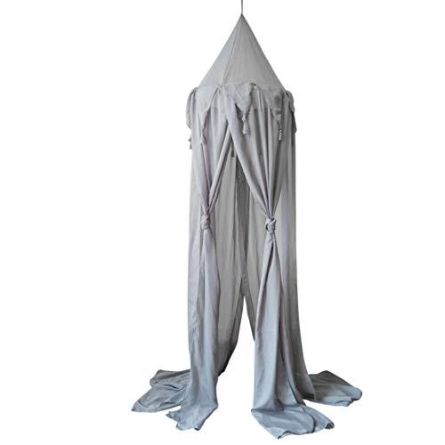 Wawer Baby Nordisch Zelt,Kinder Baby Bett Baldachin Bettdecke Moskitonetz Vorhang Bettwäsche Runde Kuppel Zelt Baumwolle (Grau)