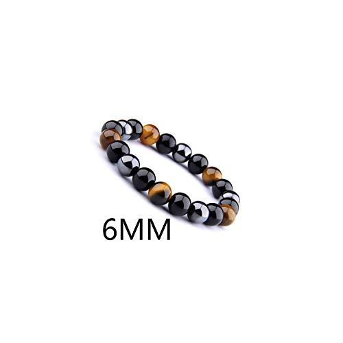 Awertaweyt Edelstein Perlen Armband Natural Black Obsidian Hematite Tiger Eye Beads Bracelets Men for Magnetic Health Protection Women Jewelry Pulsera Hombre 6MM 23cm