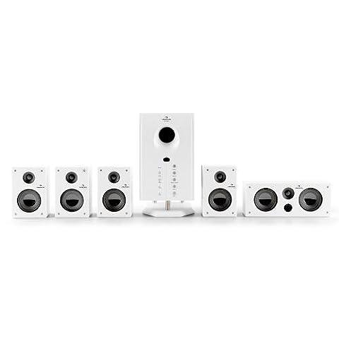 auna Areal 525 Heimkino akives 5.1 Lautsprechersystem (95W RMS, AUX, Sleep Modus, Fernbedienung, Holzgehäuse) weiß