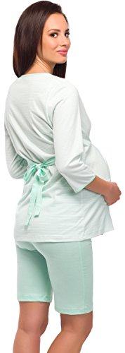 Be Mammy Damen Stillpyjama 1L6S2 Weiß/Mint