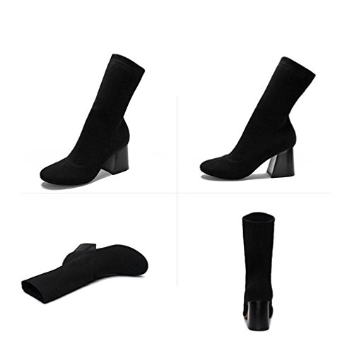 WYWQ Donne Rough High Block Heels Short Boots Partito Dimensione Testa Rotonda Verde Esercito Nero black