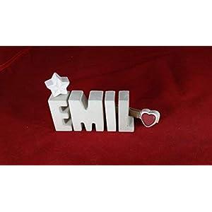 Beton, Steinguss Buchstaben 3D Deko Namen EMIL mit Stern und Herzklammer als Geschenk verpackt! Ein ausgefallenes Geschenk zur Geburt, Taufe, Geburtstag, Namenstag oder auch zu Weihnachten!