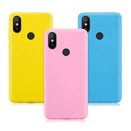 3X Xiaomi Mi A2 Lite Funda, Color Suave TPU Caso Ultra Delgado Protectora Back Case Cover Anti Rasguños Anti Choque Tapa para Xiaomi Mi A2 Lite - Rosa Oscuro, Amarillo, Azul