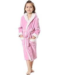 FLYCHEN Niña Albornoces Pijamas y Bata Camisón con Capucha para niños Kid Franela Homewear ...