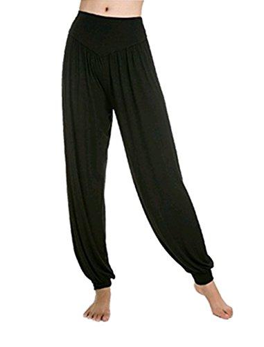 Leisial Pantalones de Yoga Algodón Suave Piernas Pantalones Anchos Sólido Color Elástico Pretina Pantalones Bombachos de Fitness Bailan Deportivo para Mujeres,Negro XL