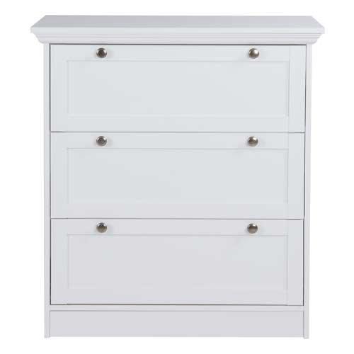 Kommode in weiß, mit 3 Schubkästen, hochwertige Rahmenfronten, Metallknöpfe im Vintage-Look, Maße: B/H/T ca. 80/90/45 cm - 3