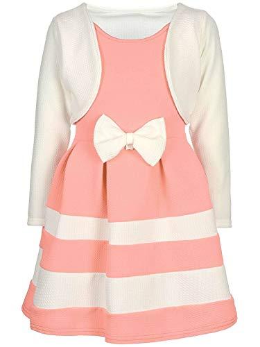Kostüm Teenager Für Coole - BEZLIT Mädchen-Kleid Kinder-Kleider Spitze Winter-Kleid Fest-Kleid Lang-Arm Kostüm 30003 Weiß-Lachs 116
