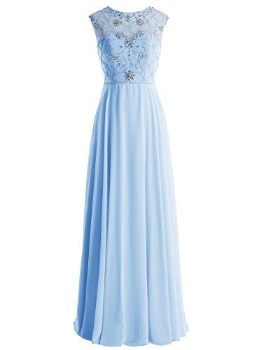 Bbonlinedress Robe de soirée et de demoiselle dhonneur emperlée florale sans manches longueur ras du sol en mousseline Bleu