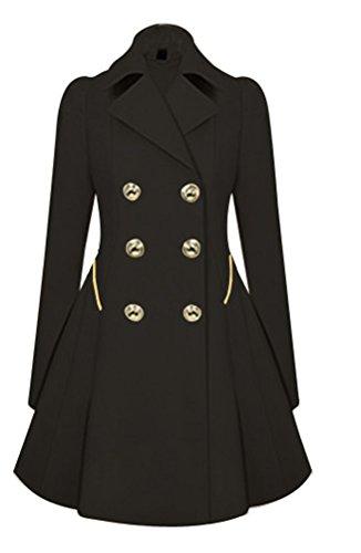 SMITHROAD Damen Elegante Jacke Mantel Zweireihige lange Herbst Trenchcoat ,Schwarz 34