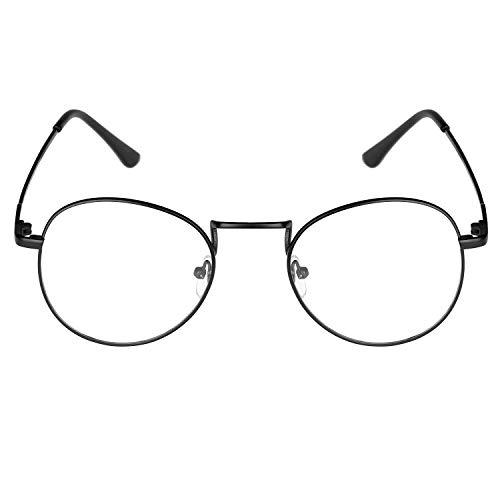 Gaodaweian Runde Metallgläser Klare Brillengläser Klassisches Design Geek Plain Zero Degree Brillen