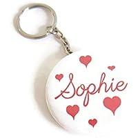 Porte-clé décapsuleur personnalisé prénom cœurs rouges, Cadeaux Saint-Valentin, porte-clé femme, porte-clé rond, porte-clé homme