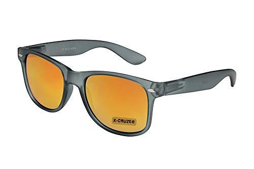 X-CRUZE® 8-111 X0 Nerd Sonnenbrille Retro Vintage Design Style Stil Unisex Herren Damen Männer Frauen Brille Nerdbrille - grau-transparent matt und rot-orange verspiegelt