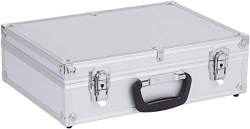 Werkzeugkoffer Werkzeugkiste 42,5x30,5x12,5 cm + Schlüssel - Silber Aluminium