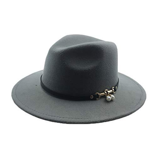 GOUNURE Damen Vintage Wide Brim Fedora Hats Mode Elegante Trilby Church Hat Panama Jazz Cap mit schwarzem Ledergürtel -