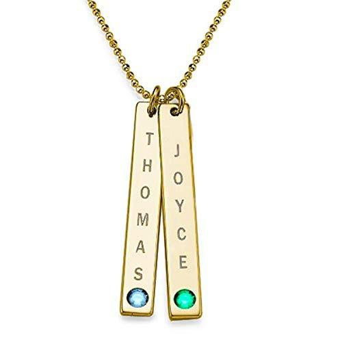 ASD Jewerly Persönalisierte Silber Halskette Benutzerdefinierte Name Tag Halskette Frauen Kostüm Brief Vertikale Bar Halsketten Gold Typenschild Geburt Stein Ketten Schmuck Geschenk Freund (Gold 16) (Benutzerdefinierte Kostüm Frauen)