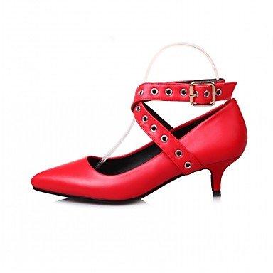 LFNLYX Frauen Fersen Frühling Herbst Komfort Kunstleder Party & Abendkleid Casual Stiletto Ferse Gürtelschnalle Schwarz Rosa Red Sliver Pink