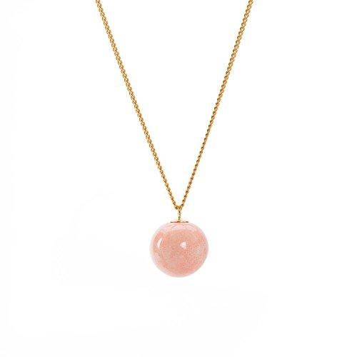 Louise Kragh Damen Halskette Pearl Perle Kugel Anhänger rund Porzellan korall Sterling Silber vergoldet - N-PE0102CORg