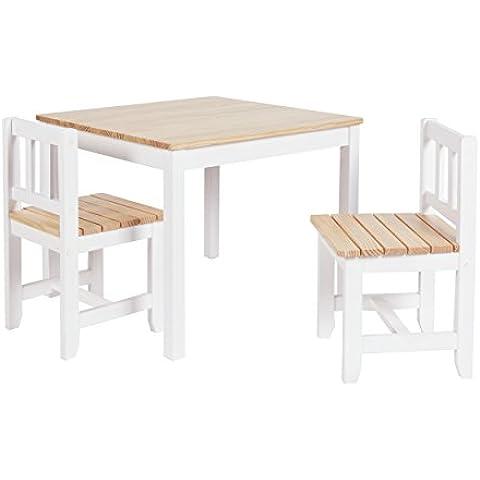 ts-ideen Juego de mesa y dos sillas para niños color madera natural crudo a sillas con listones