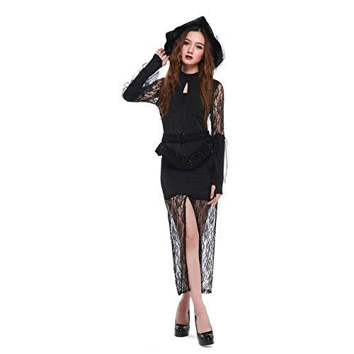Fashion-Cos1 Cosplay Kostüm Spitze Sexy Slim Hexe Langes Kleid Frauen Uniformen Party Performance Bühnenkostüme Mit Hüten