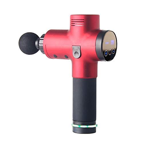 Baibang LCD Digitalanzeige Fascia Gun Muscle Relaxer 20 Elektrische Fitness-Massagepistolen, Rot, 4 Massageköpfe, Größe 18,8x6,2x24,2 cm Komfortabel -