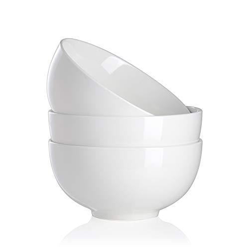 MALACASA, Serie Regular, 3-teilig Cremeweiß Porzellan Schale Set 8 Zoll / 20 * 20 * 10cm / 1900ml Schüssel Suppenschüssel Müslischale Salatschüssel Nudelschüssel
