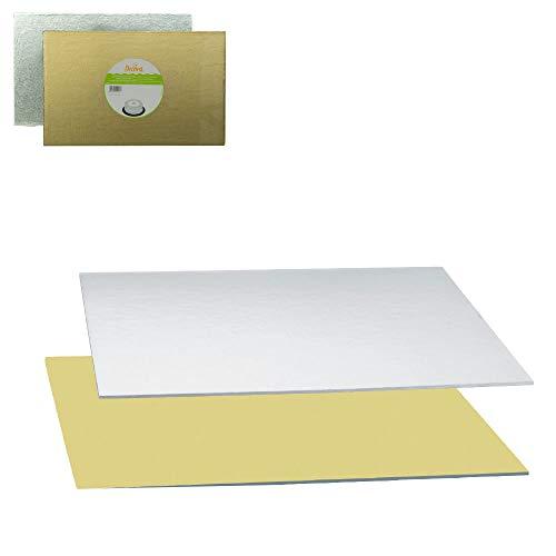 Tortenplatte Rechteckig Gold/Silber35 x 45 cm Rechteckige Platte