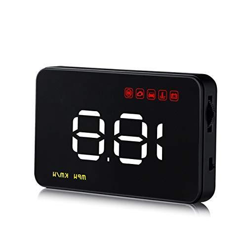 ACBungji Head Up Display, HUD mit OBD2/euobd Schnittstelle Plug 8,9cm Bildschirm KM/H MPH U/min Speeding Warnung (Reflektierende Film und Rutsch Matte im lieferumfang enthalten) -