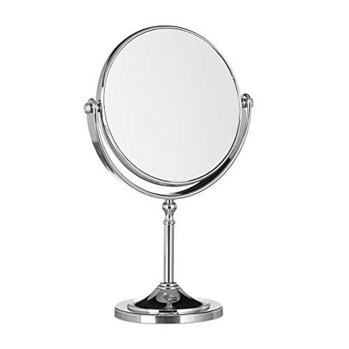 Relaxdays Vergrößerung, Schminkspiegel stehend, Make Up Spiegel rund, zweiseitig Espejo...