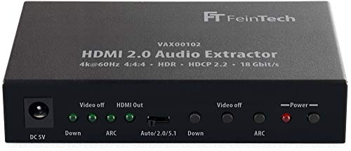 FeinTech VAX00102 HDMI 2.0 Audio Extractor, ARC 4K HDR Schwarz Hdmi Digital Audio