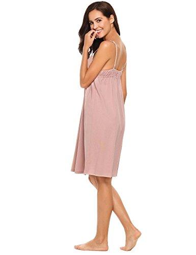 Ekouaer Damen Nachthemd V-Ausschnitt Baumwolle Träger Kleid Spitze Sexy Negligee kurz Retro Sommer Schwarz/Weiß/Rosa/Grau/Blau S-XXL stil 1:Rosa