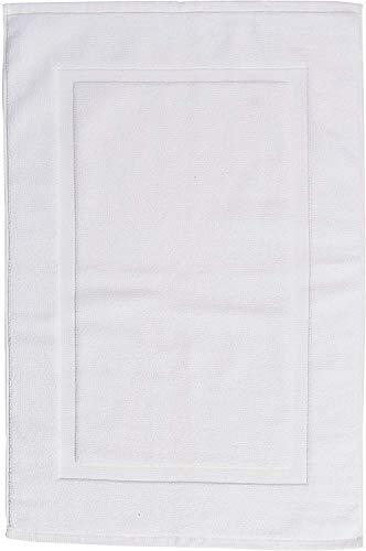 AmazonBasics Tappetino per il bagno con fascia decorativa colore bianco