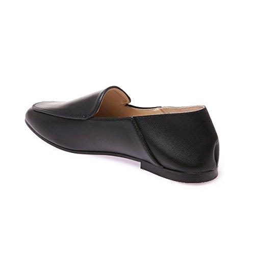La Modeuse Slippers Femmes en Simili Cuir Noir