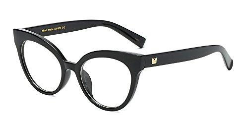 Bozevon donna moda classico montatura occhiali da vista occhiali con lenti trasparenti occhio di gatto occhiali, nero