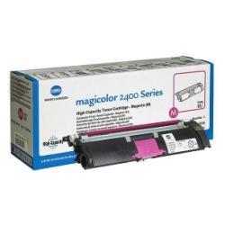 QMS Konica Minolta Magicolor 2400 2430 2500 2450 2400W 2550 2500W Colour Laser Printer Series HIGH-Capacity Toner Cartridge - Magenta RED