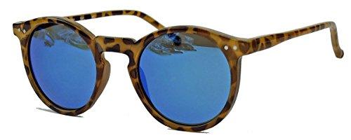 Retro Sonnenbrille im 50er 60er Jahre Vintage Stil Pantobrille runde Gläser V1554 (Havana / Blau verspiegelt) (60er Jahre Pastell)